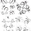 Collection of floral ornaments - Stock Vector
