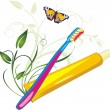 Sprig, butterfly, tooth brush and paste — Stock Vector