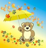 Bruin with umbrella. Autumn composition — Stock Vector