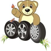 Bruin with wheels of cars — Stock Vector