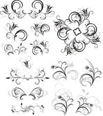 Collection of floral ornaments — Stock Vector