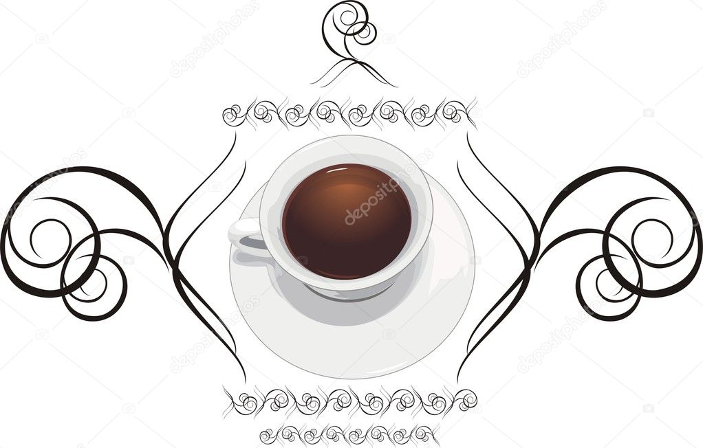 Cup with coffee and decorative ornament. Vector illustration — Stock Vector #2781049