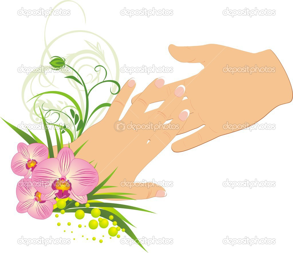 Womanish and masculine hands. Romantic composition. Vector illustration — Stok Vektör #2787475