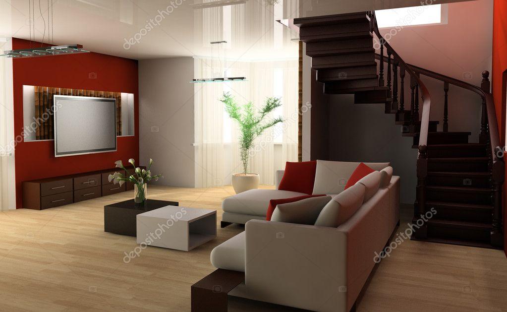 Stair in a drawing room stock photo akaciya 2820394 for Sala de estar grande com escada