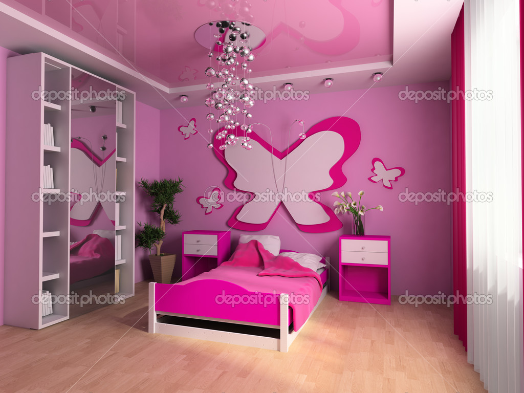 Pink children's room with a bed 3d image — Stock Photo #3492581