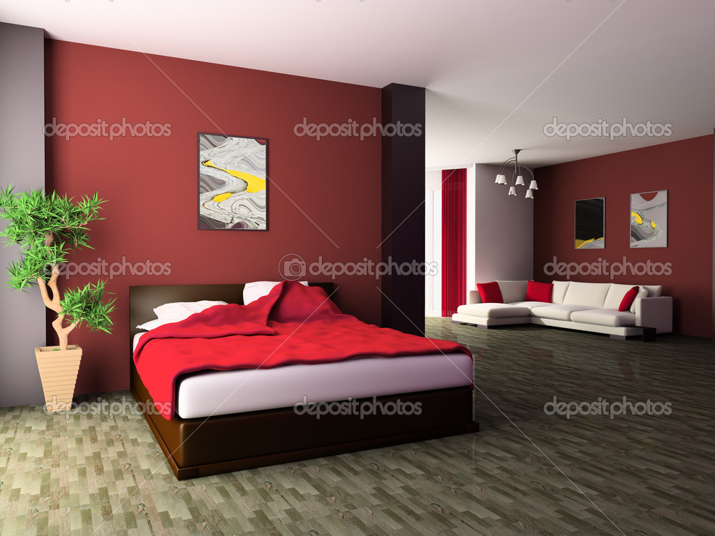 Bedroom in modern style 3d image — Stock Photo #3492649