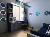 Work place in a children's room — Stockfoto