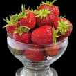 Juicy strawberry glass bowl — Stock Photo