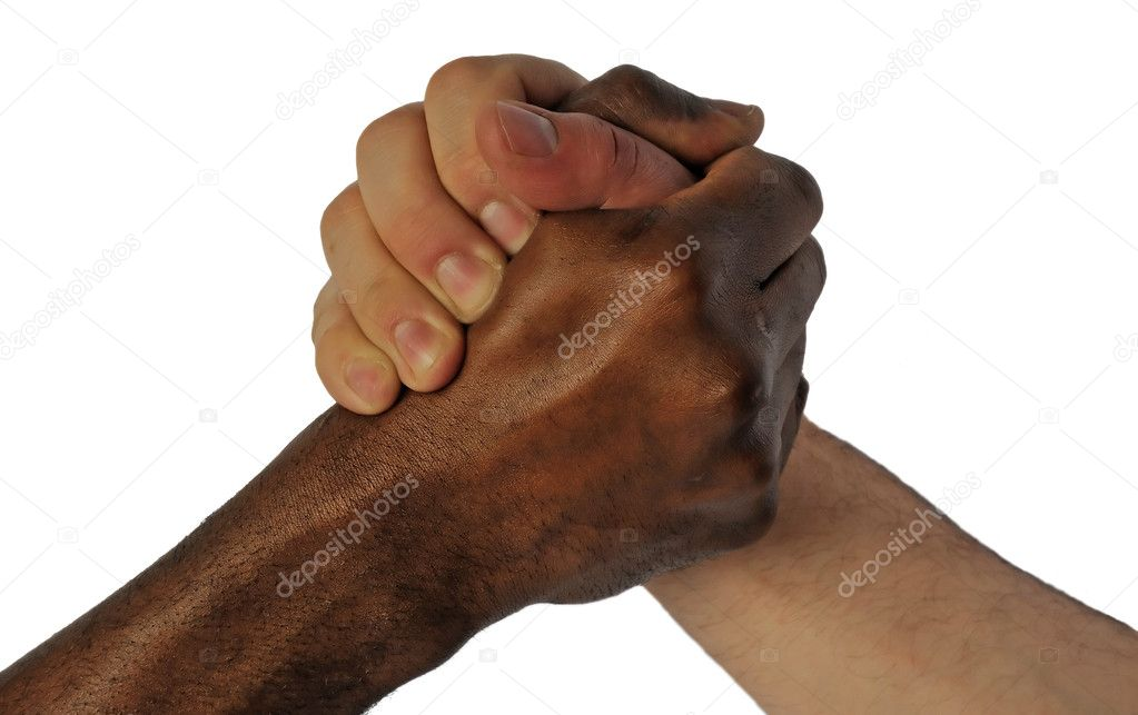 Friendship hand shake between white and black skin man — Stok fotoğraf #3523259