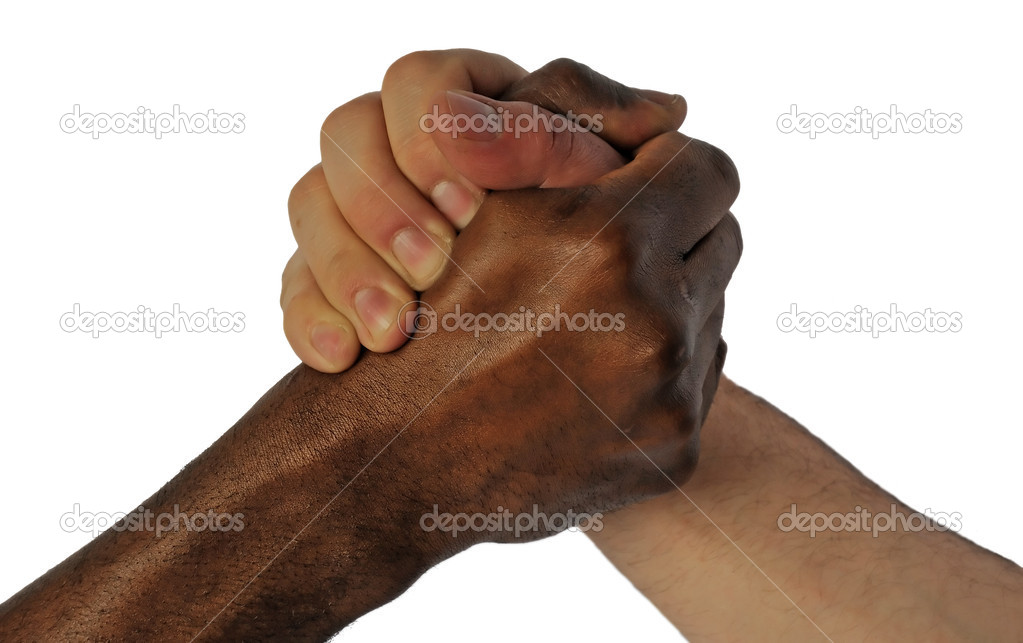 Friendship hand shake between white and black skin man — Foto de Stock   #3523259