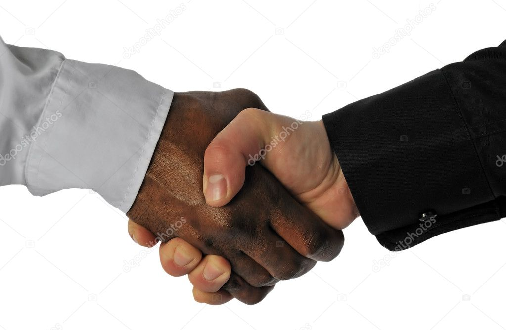Business hand shake between ethnic different men — Stock Photo #3523260
