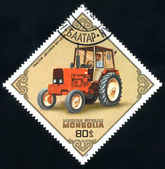 Postage stamp. Tractor. — Stock Photo
