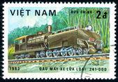Postage stamp. Locomotive. — Stock Photo
