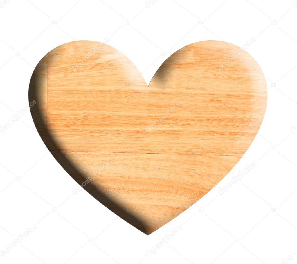 Wooden heart over white background. Illustration — Stock Photo #2713228