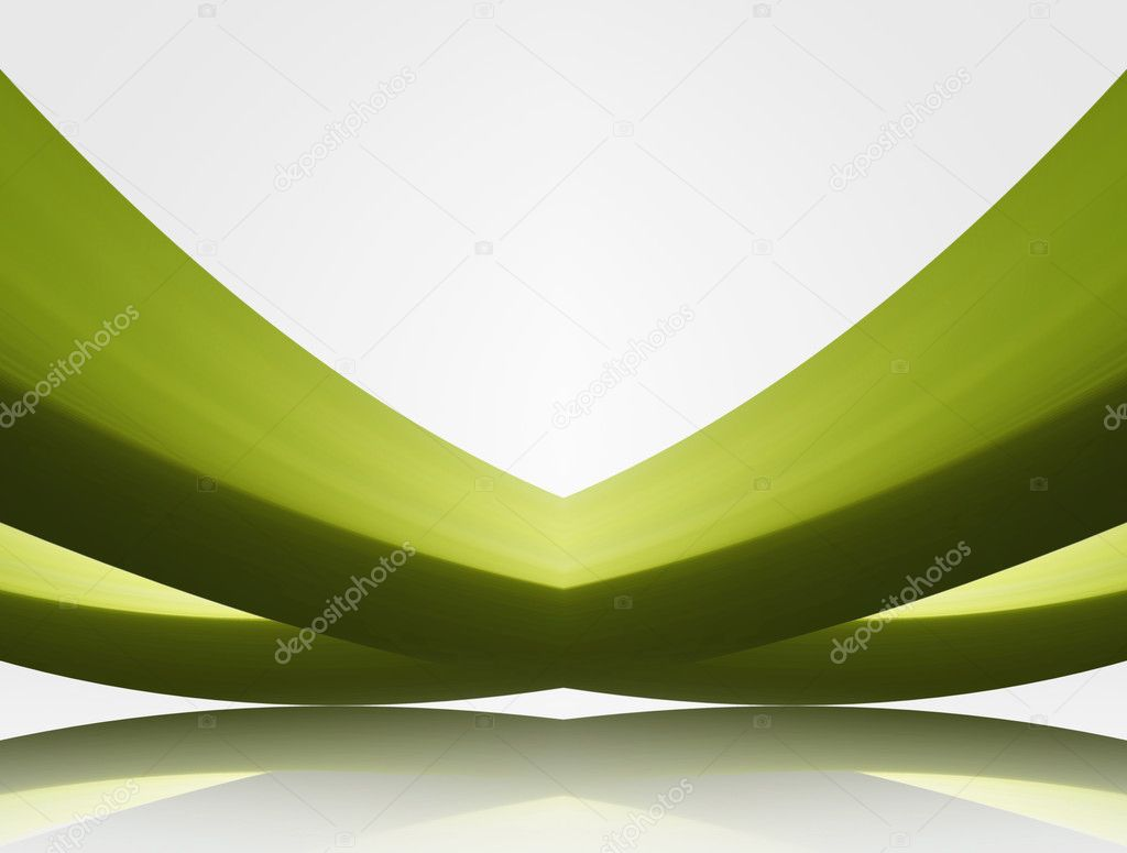 Green waves in perspective with ligth over white background  Stock Photo #2845121