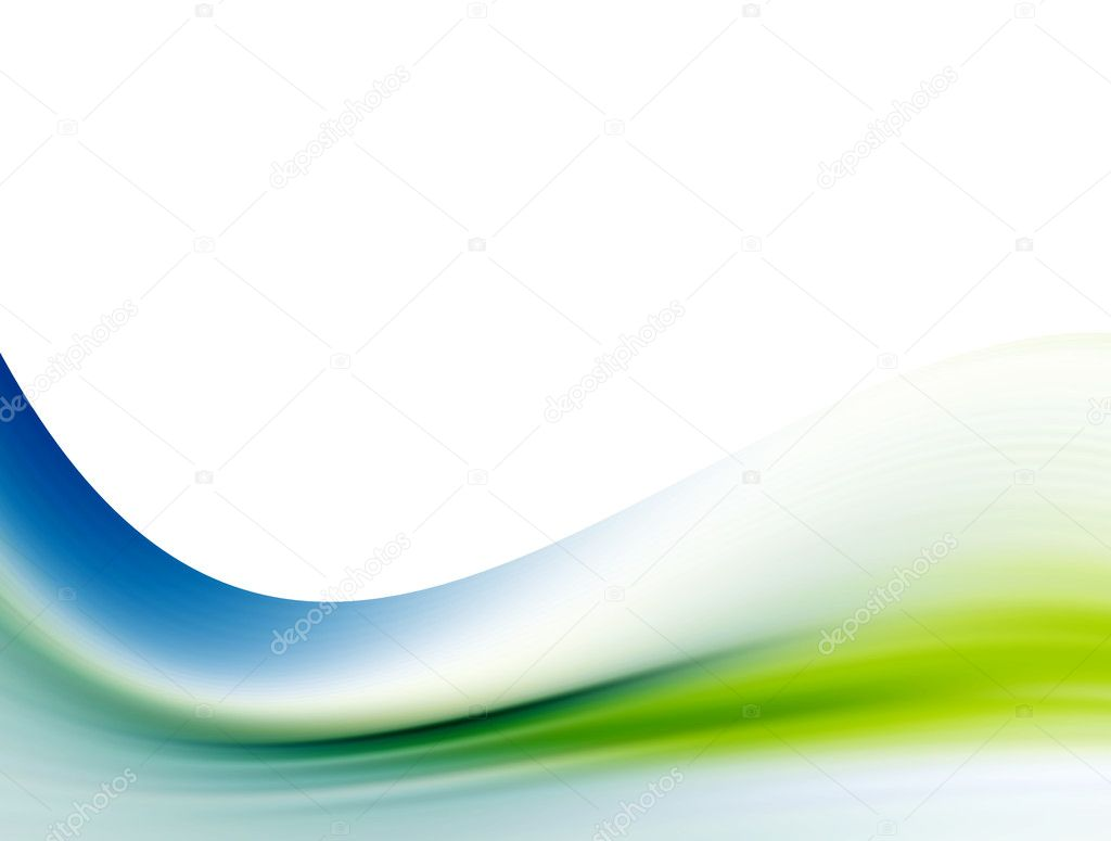 Green and blue wave over white background. Abstract and dynamic design — Stock Photo #3183819