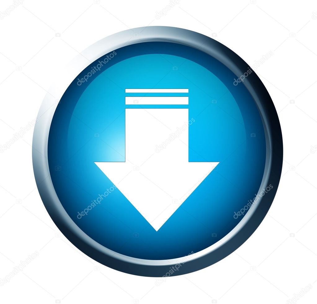 Blue button with download arrow over white background. Ioslated illustration  Stock Photo #3276417