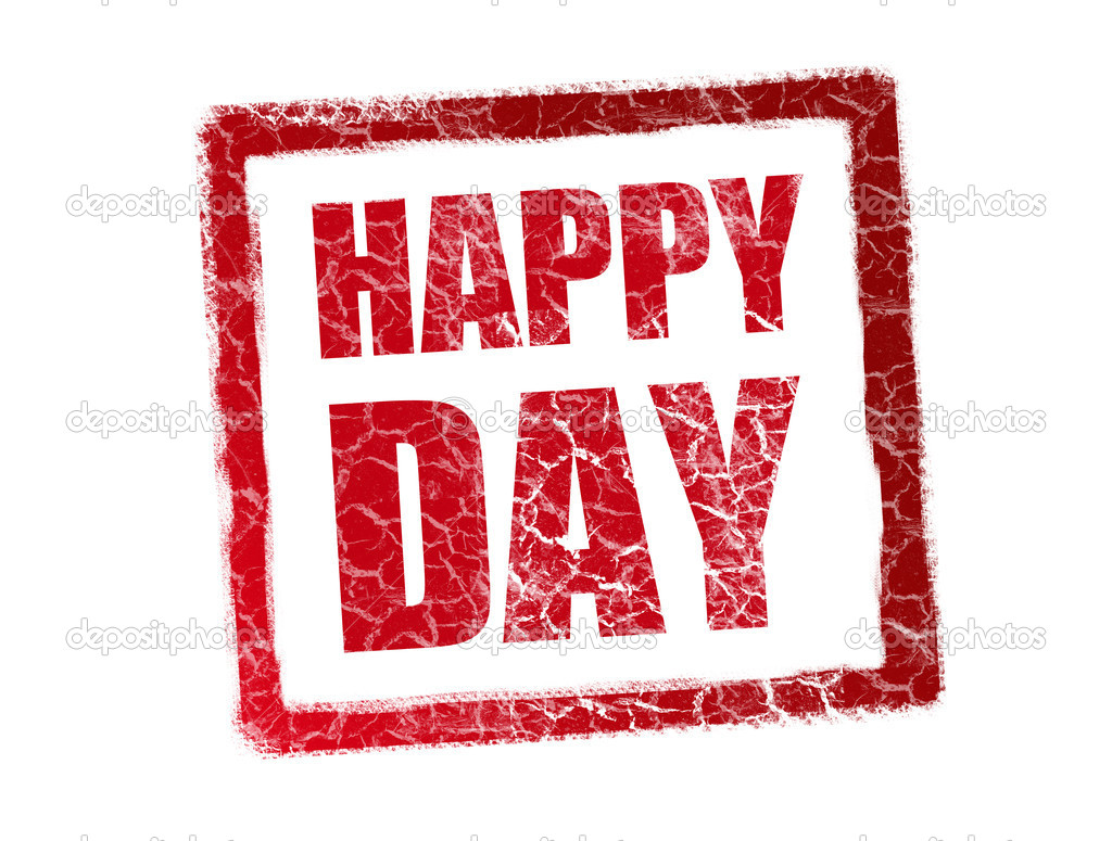 Red happy day stamp over white background — Foto Stock #3276430