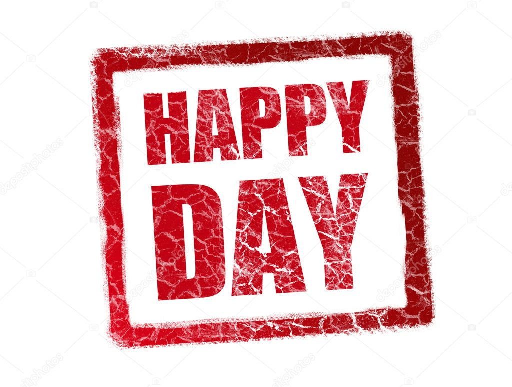 Red happy day stamp over white background — Stockfoto #3276430