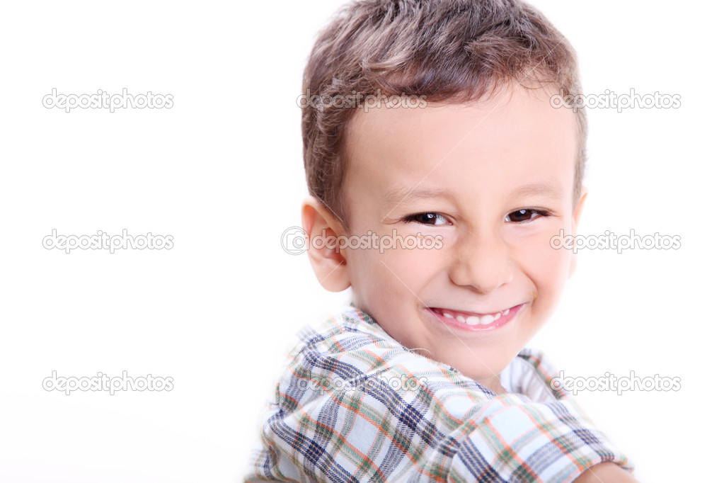 Four years old caucasian boy smilinga and looking at the camera. Fun image — Stock Photo #3291532