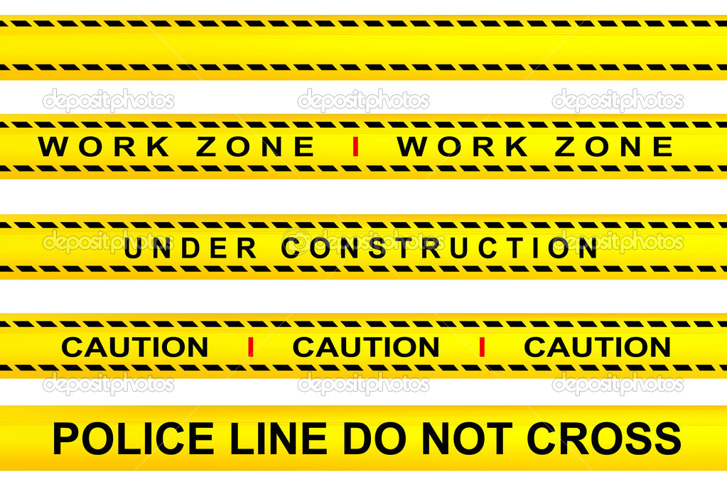 Yellow tape warning, work zone, under construction, police line and caution advertisements — Stock Photo #3833781