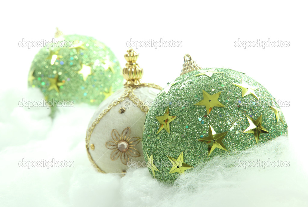 Green chritsmas balls on cloudy background. Xmas image — Stock Photo #4152923