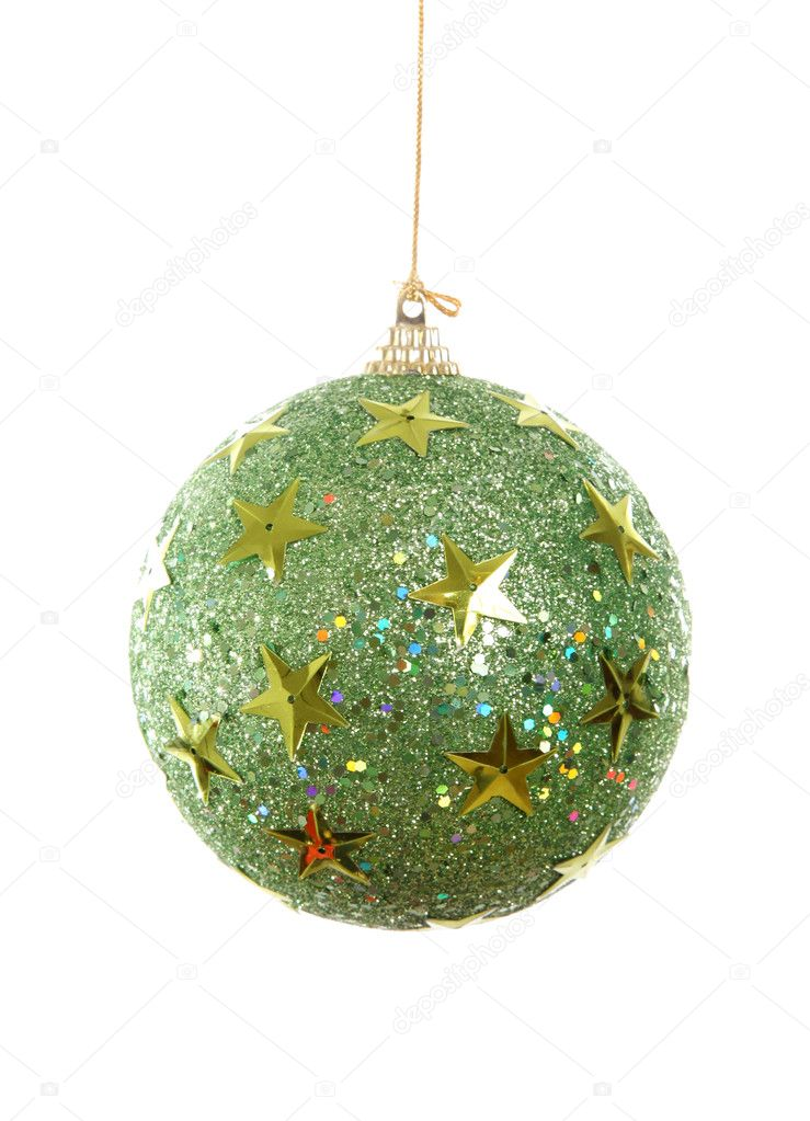 Green chrsitmas ball with stars isolated on white.   Stock Photo #4153226