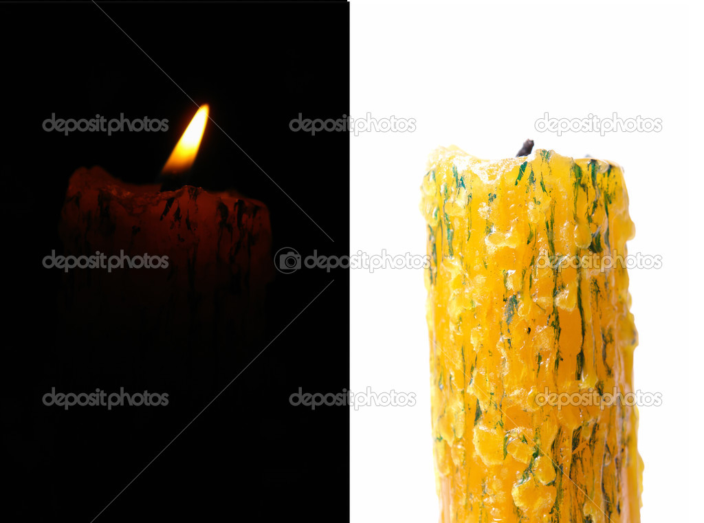 Candlelight on black and white backgrounds. two image — Stock Photo #4845227
