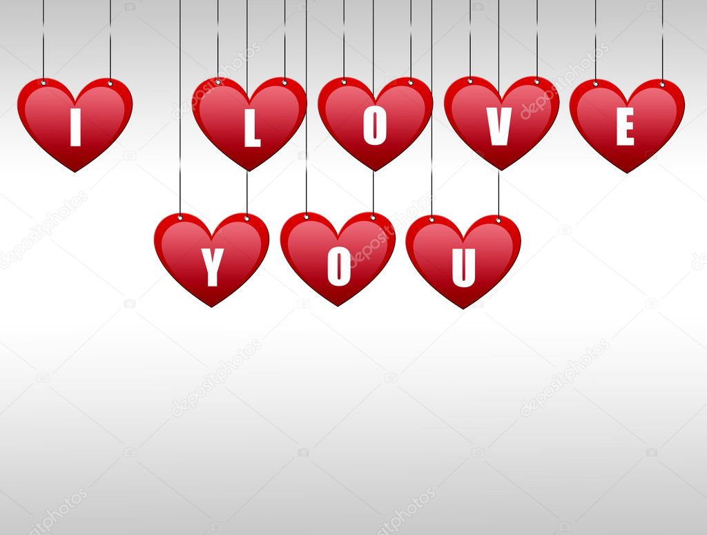 Hearts hanging with the word i love you — Stock Photo #4853615