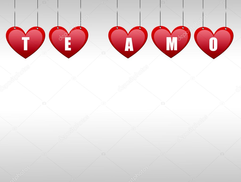 Hearts hanging  with the word te amo — Stock Photo #4853622