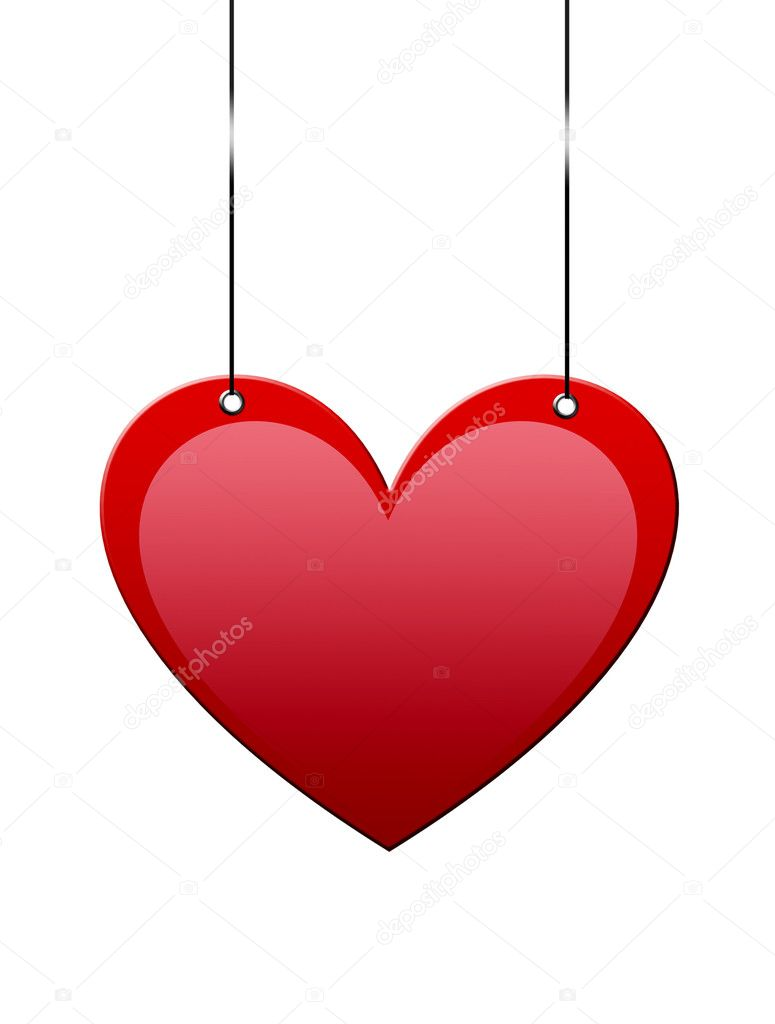 Heart hanging with space to insert text or design — Stock Photo #4853627