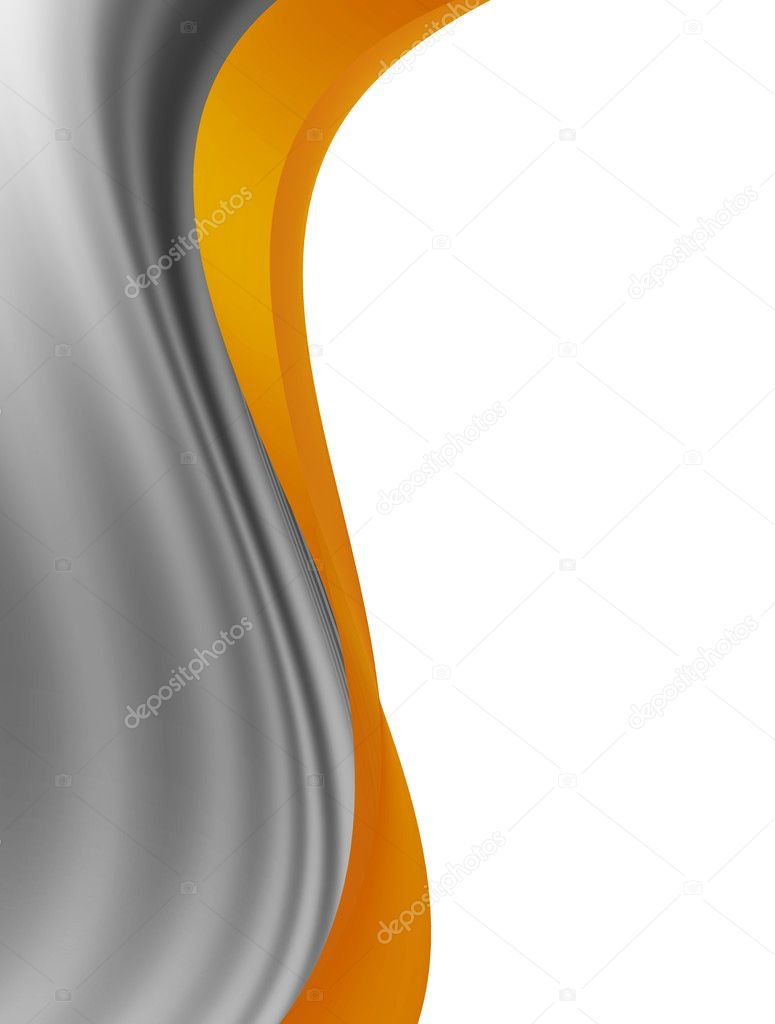 Gray and orange dynamic wave over white background  Stock Photo #4914060