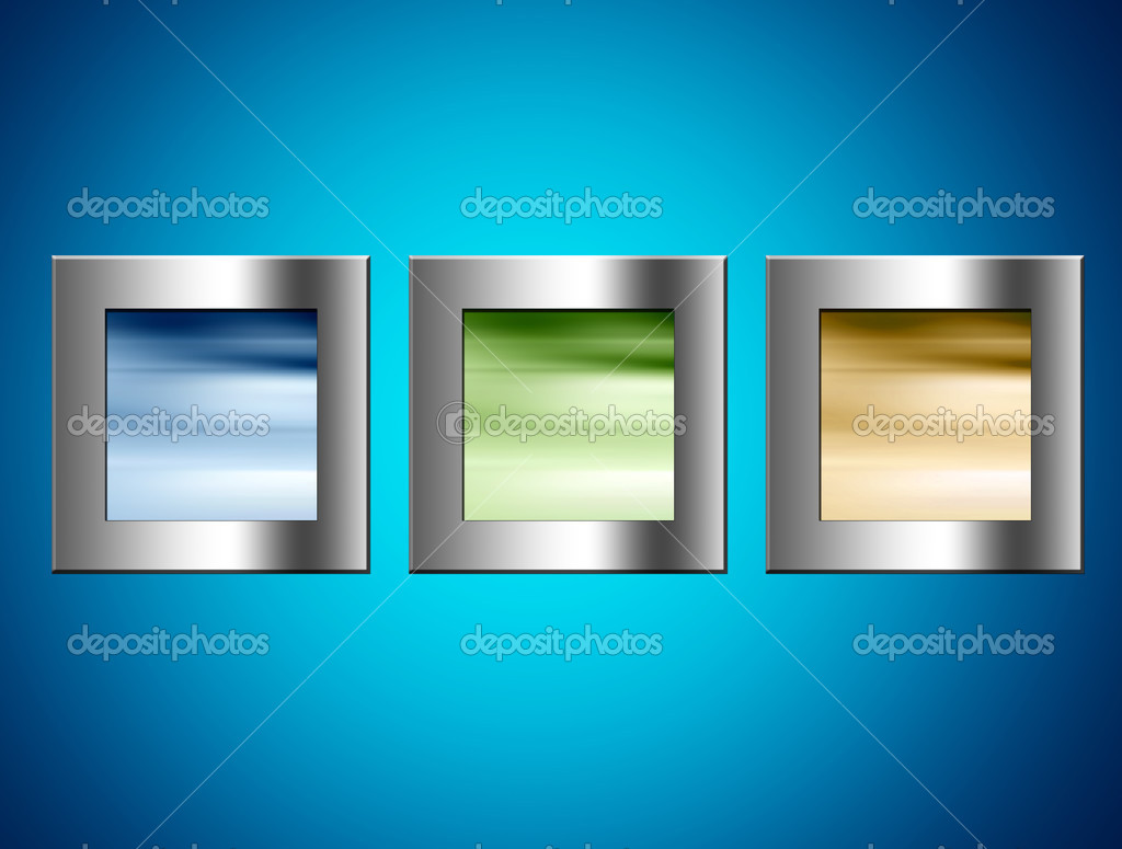 Chrome frames with blue, green and yellow colors over blue background — Stock Photo #4916849