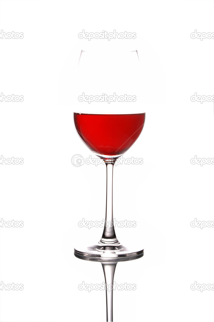 Glass with Red wine isolated on a white background  Stock Photo #3121802