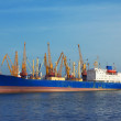 Stock Photo: A cargo ship docked in the port