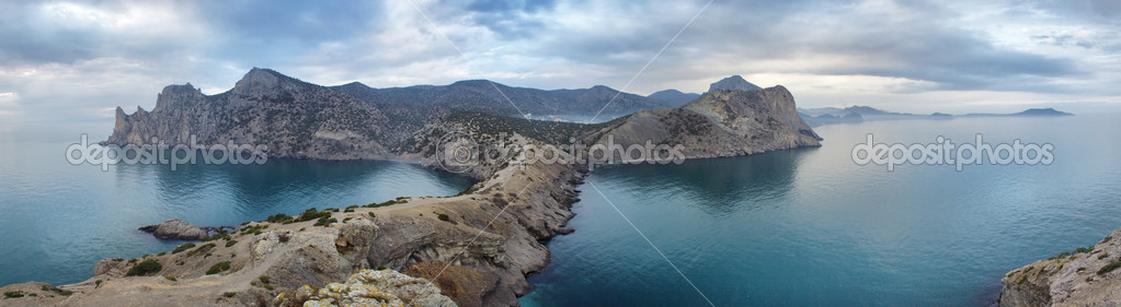 Cape Kapchik in Cremea, Ukraine, Black sea (panorama) — Stock Photo #3391069