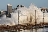 Coastal City Storm Waves — Stockfoto