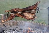 Roast Lamb on Spit — Stock Photo