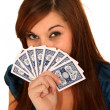 Pretty Woman Holding Cards — Stock Photo