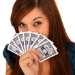 Pretty Woman Holding Cards — Stock Photo #3339743