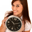 Beautiful Girl Holding Clock — Zdjęcie stockowe #3339749