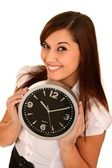 Beautiful Girl Holding a Clock — Stok fotoğraf