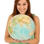 Beautiful Woman with World Globe — Stock Photo