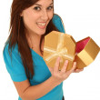 Pretty Brunette Girl with Gift Box — Stok fotoğraf #3437407