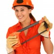 Lady with Saw and Hard Had — Stock Photo