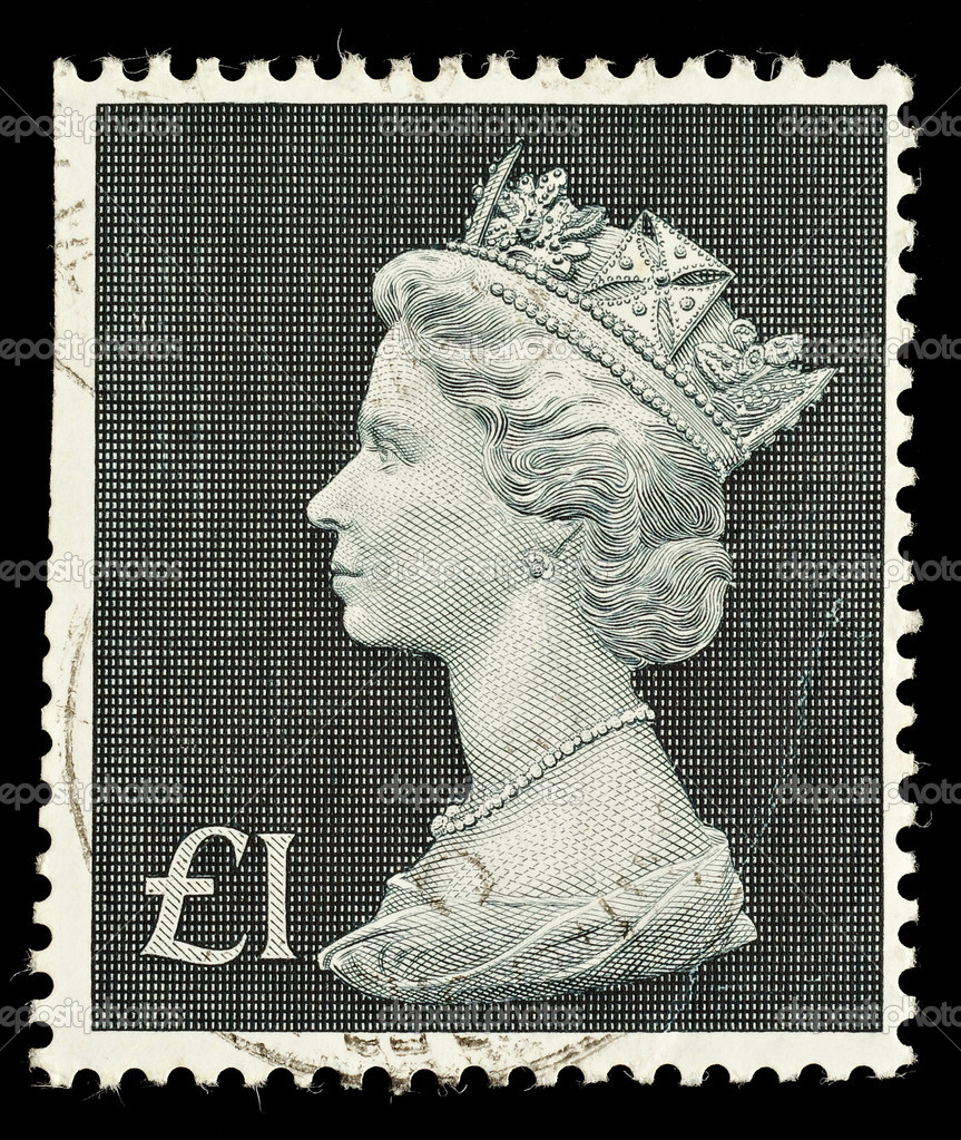 English One Pound Used Postage Stamp showing Portrait of Queen Elizabeth 2nd, circa 1970 - 1972   Stock Photo #2771378
