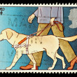 Postage Stamp Showing Guide Dog for the Blind - Stock Photo