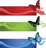 Banners with butterflies — Stock Vector