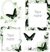 Frames with butterfly - green — Stock Vector