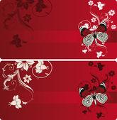 Czerwone sztandary z motyl — Wektor stockowy
